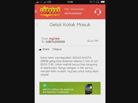 Cara mendapat kuota gratis Indosat