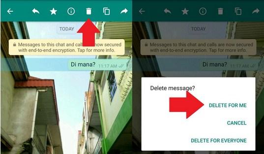 Cara Menghapus Pesan di WhatsApp versi 2.17.400