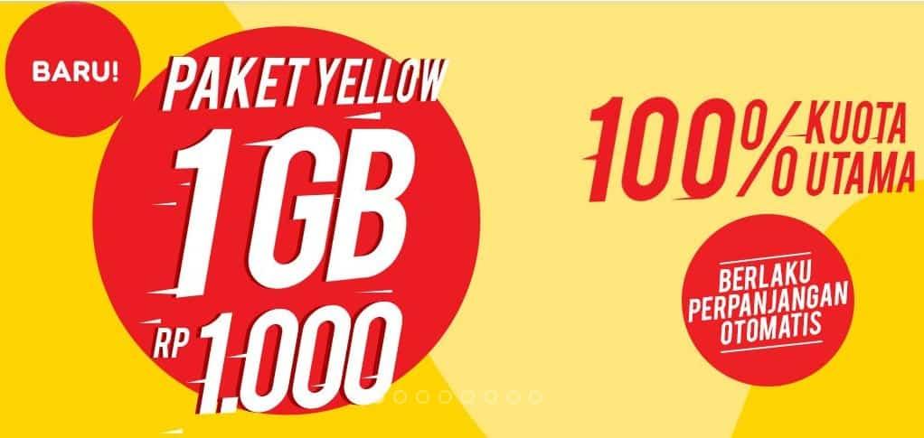 Cara Daftar Paket Yellow Indosat 1GB 1000