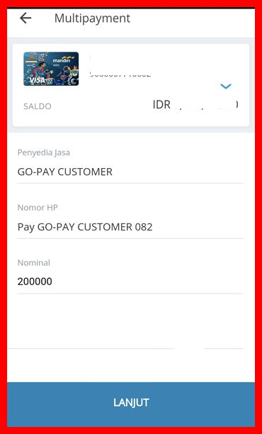 cara top up gopay bank mandiri