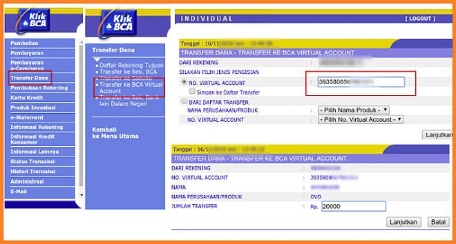 Cara Top Up OVO dengan Bank BCA via klikbca dan mbca